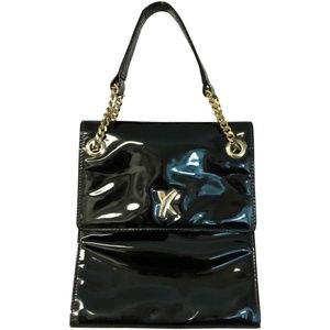 Paloma Picasso Handbag Black Patent Leather Clutch